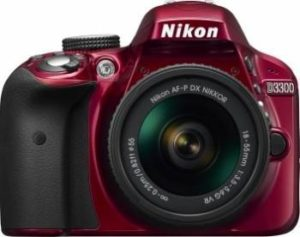 Aparat Foto DSLR Nikon D3300 KIT AF-P 18-55mm VR Rosu